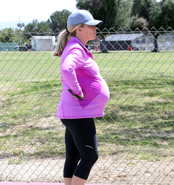 Kendra Wilkinson watched son Hank Jr. play soccer in Woodland Hills, CA.