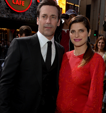 "Jon Hamm and Lake Bell attended the premiere of ""Million Dollar Arm"" at the El…"