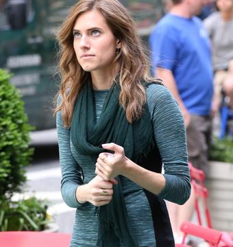 "Allison Williams filmed a scene for ""Girls"" in NYC."