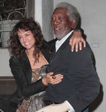 Morgan Freeman smiled as he left L.A.'s Madeo restaurant with a friend on…