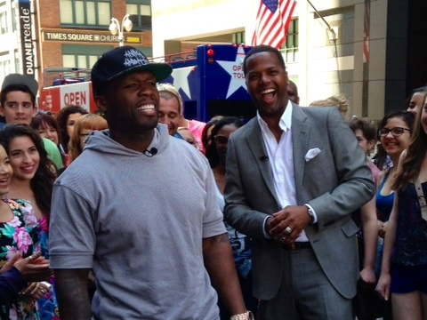 "50 Cent showed off his baseball skills with ""Extra's"" AJ Calloway in NYC."