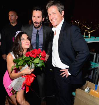 Sandra Bullock and past co-stars Keanu Reeves and Hugh Grant attended Spike…