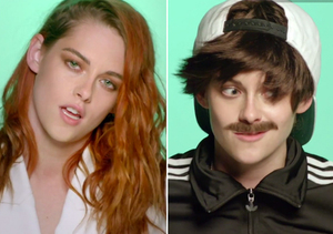 Kristen Stewart and Anne Hathaway in Drag for 'Just One of the Guys' Video