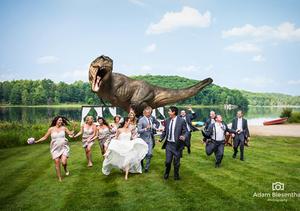Jeff Goldblum Runs for His Life in 'Jurassic Park' Wedding Photo