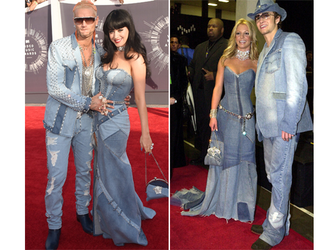 Katy Perry Wears All Denim Dress To Mtv Vmas Britney Spears Responds Pics Extratv Com
