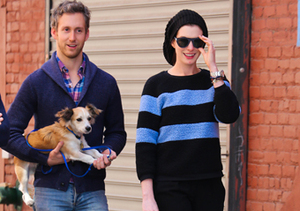 Adam Shulman and Anne Hathaway took their dogs for a walk in NYC.