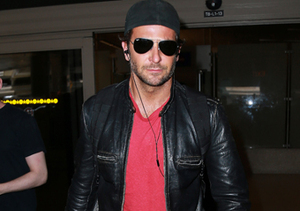 Bradley Cooper looked handsome as usual in a leather jacket and Aviator…