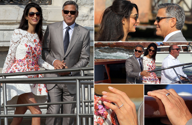 Cute Pics! George Clooney and Amal Alamuddin Step Out As Married Couple