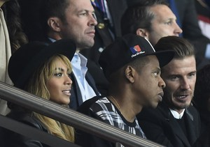Beyoncé, Jay-Z and David Beckham attended the football match between Paris…