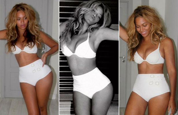 Beyoncé Shows Off Tiny Waist in White Hot Lingerie