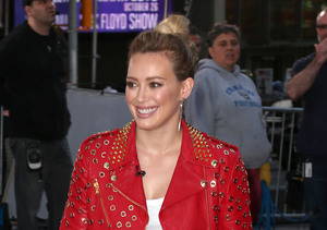 "Hilary Duff stopped by ""Good Morning America"" in NYC."