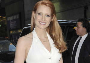"Jessica Chastain stopped by the ""Late Show with David Letterman"" in NYC."