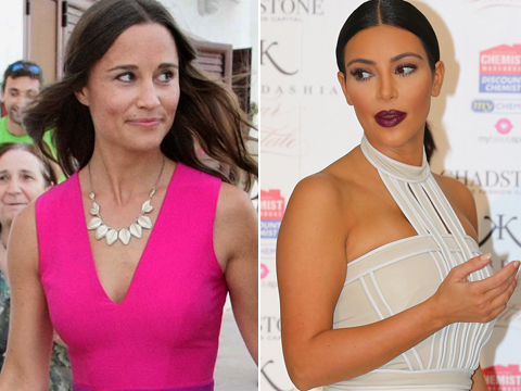 Booty Wars! Pippa Middleton's Priceless Reaction to Kim K's Bare Bottom