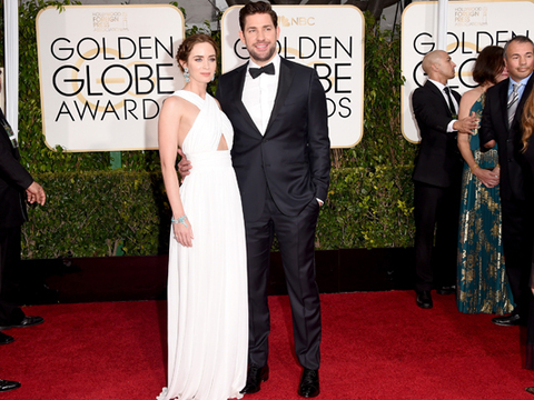 Emily Blunt Looks Dreamy in White Criss-Cross Gown