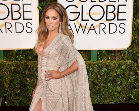 Jennifer Lopez Shows Off Her Legs in Daring Silver Gown