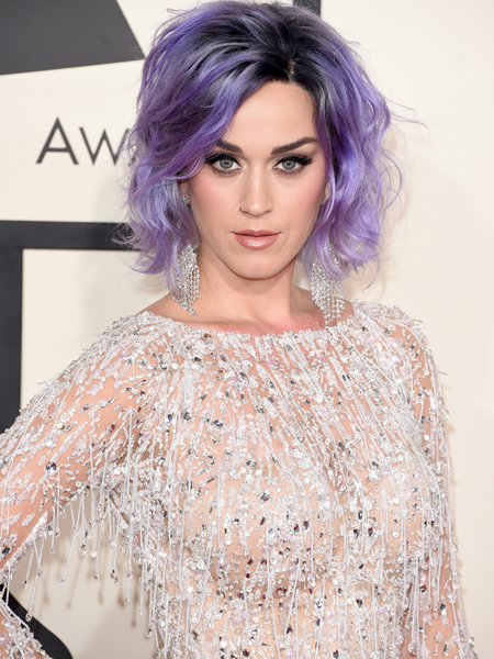 Katy Perry is a Violet-Haired Vixen on Grammys Red Carpet