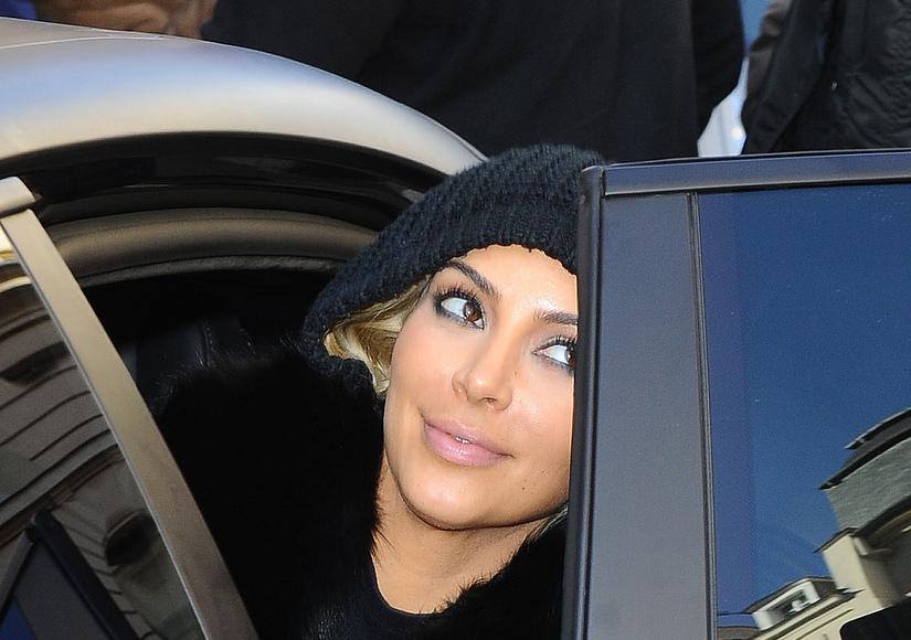 Kim Kardashian Goes Platinum Blonde in Paris