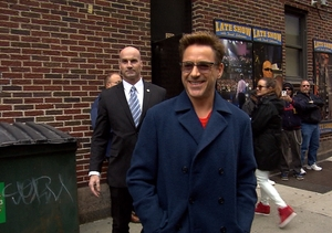 Robert Downey Jr. is All Smiles as He Arrives for 'Late Show with David…