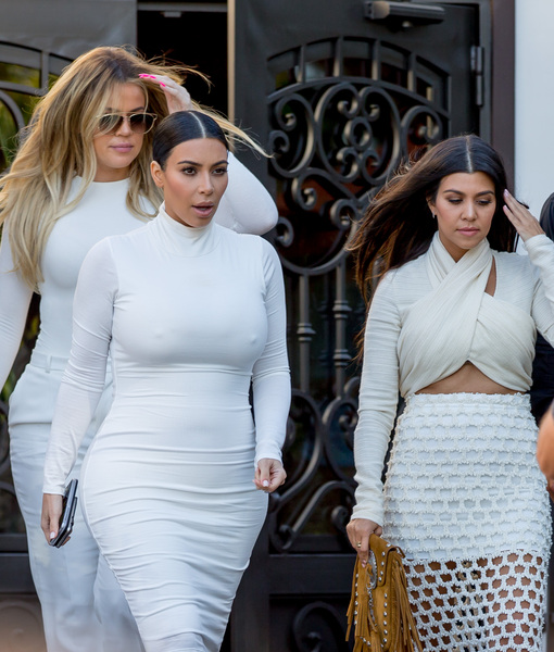 The Kardashian Sisters Unite in White! Kim and Khloe Step Out with Newly Single Kourtney