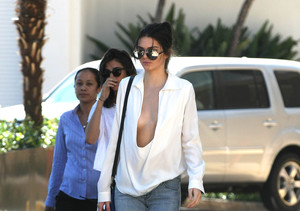 Kendall Jenner Wears Barely-There Top, Narrowly Avoids Wardrobe Malfunction