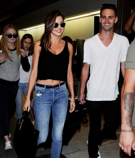 Miranda Kerr & Evan Spiegel Pack on PDA Before Paris Getaway