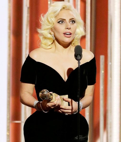 Lady Gaga Channels Marilyn Monroe in Curve-Hugging Dress and Platinum-Blonde Hair at Golden Globes