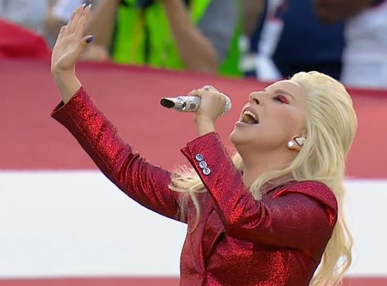Glittery Gaga Rocks 'The Star-Spangled Banner' at Super Bowl 50