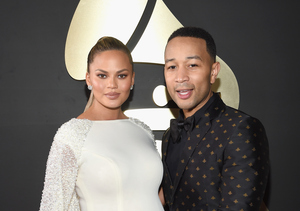 Chrissy Teigen Is Slaying with Her Bright Baby Bump at the Grammys