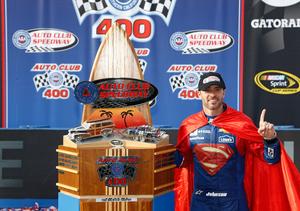 Jimmie Johnson Rocks Superman Cape after NASCAR Auto Club 400 Win!