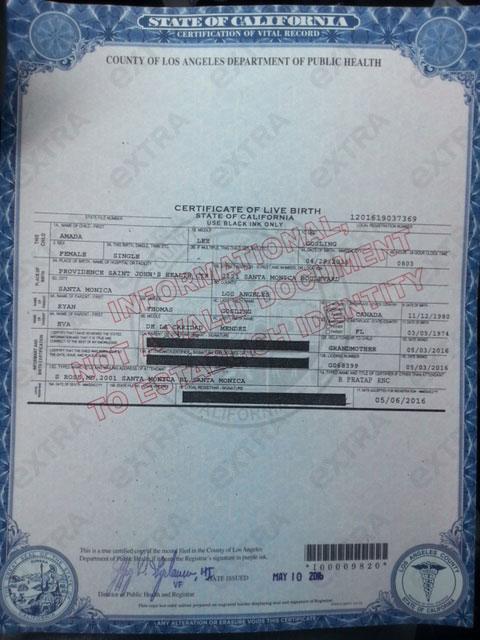 Ryan and Eva's Baby birth certificate