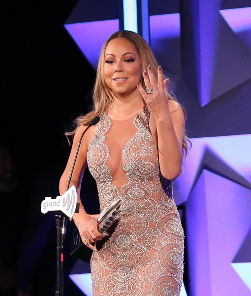 Mariah Carey Flashes Sparkler, Vamps at GLAAD Awards