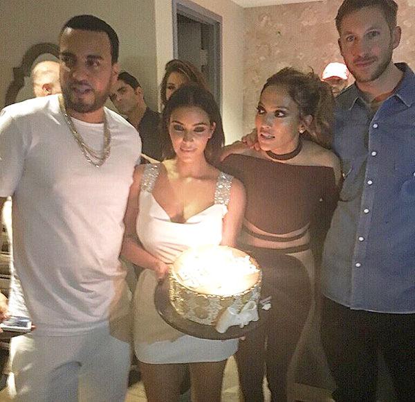 Kim Kardashian & Calvin Harris Light Up J.Lo's Pre-Birthday Party
