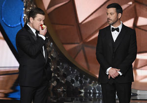 See Matt Damon Crash Emmys Stage as Jimmy Kimmel Loses