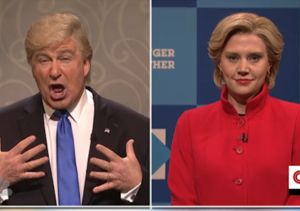Clinton & Trump Join Hands, Hug People in Times Square ... on 'SNL'
