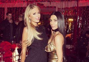 Kim Kardashian & Paris Hilton Reunite at Christmas Party