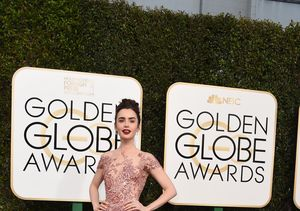 All About Lily Collins' Whimsical Golden Globes Gown Choice
