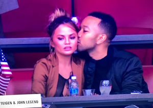 Chrissy Teigen Suffers Nip Slip at Super Bowl