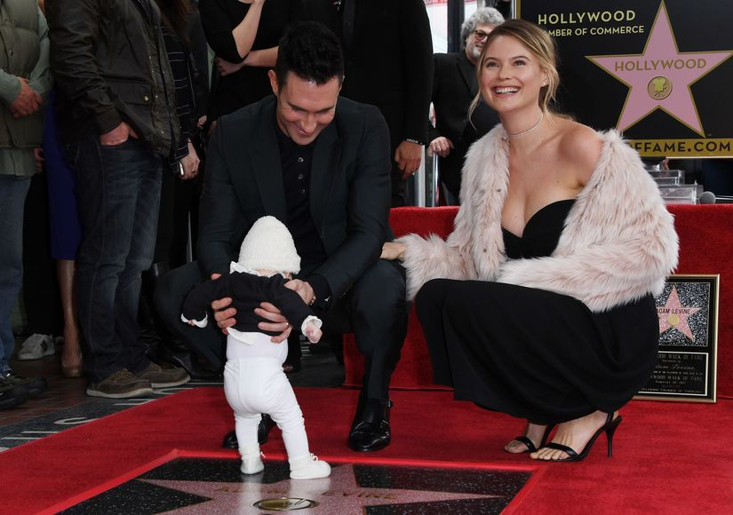 cf6f8978a Adam Levine s Baby Daughter Makes Public Debut at His Hollywood Walk ...