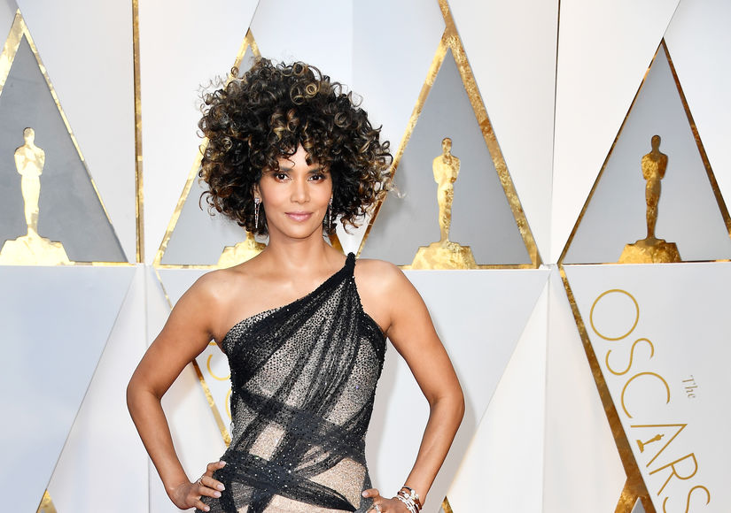 Halle Berry Rocks Curly Hair on the Oscars 2017 Red Carpet