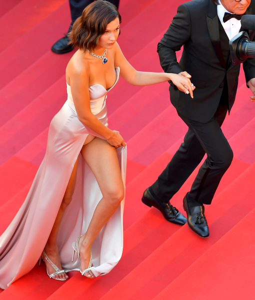Bella Hadid Suffers Wardrobe Malfunction at Cannes Opening Gala 2017