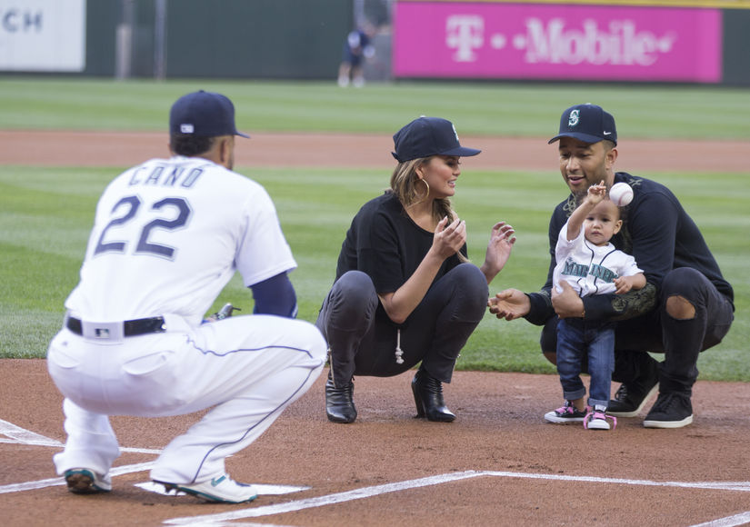 Super Cute Pics! John Legend & Chrissy Teigen's Daughter Luna Throws First Pitch