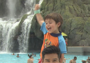Mario Lopez's Shirtless Volcano Bay Adventure with Son Dominic