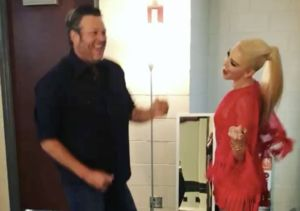 #CouplesGoals! See Blake Shelton & Gwen Stefani Do the Happy Dance