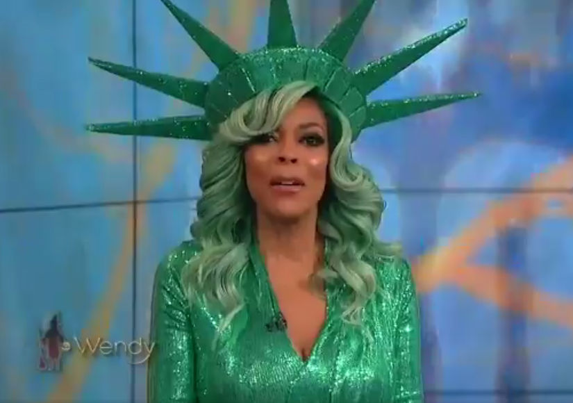 Wendy Williams fell down during a live television show in a Halloween costume