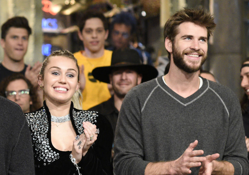 Liam Hemsworth Surprises at 'SNL' Alongside Fiancée Miley Cyrus