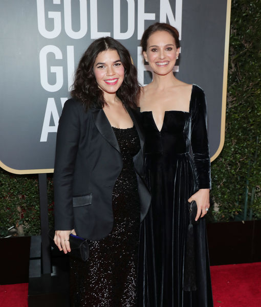 America Ferrera Shows Off Baby Bump in Sparkly Dress and Blazer at Golden Globes