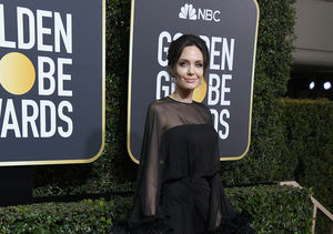 Angelina Jolie Is All Sheer and Feathers at the Golden Globes