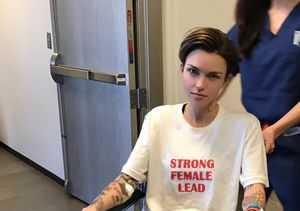 Ruby Rose in a Wheelchair After Spine Surgery