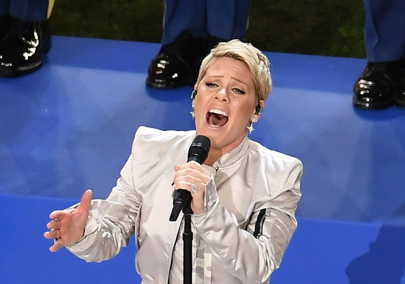 P!nk Powers Through National Anthem at Super Bowl