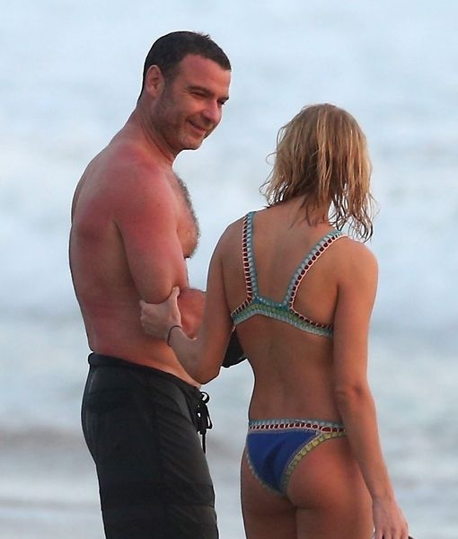 Shirtless Liev Schreiber Hits the Beach with His Much Younger GF